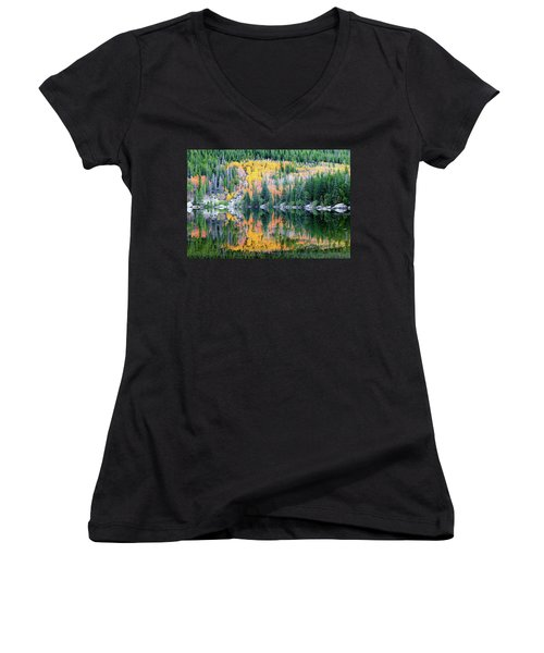 Autumn Mirror At Bear Lake Women's V-Neck