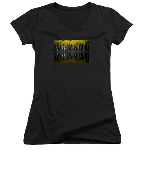 Autumn Mirror Women's V-Neck T-Shirt (Junior Cut) by Dustin  LeFevre