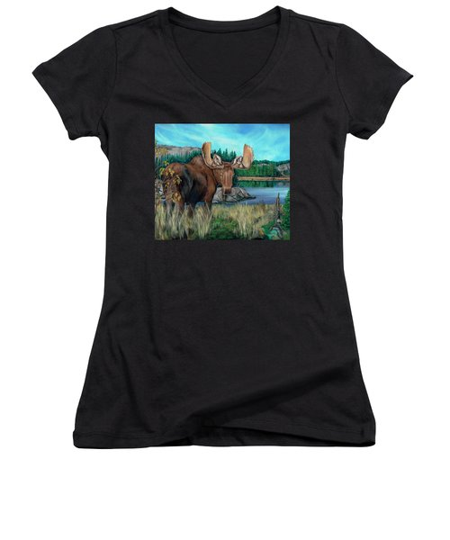 Autumn Moose Women's V-Neck T-Shirt