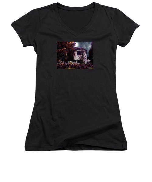 Autumn Night In The Country Women's V-Neck T-Shirt