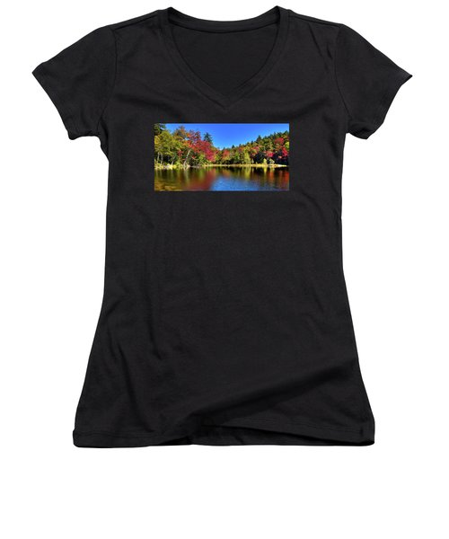 Autumn On 7th Lake Women's V-Neck (Athletic Fit)