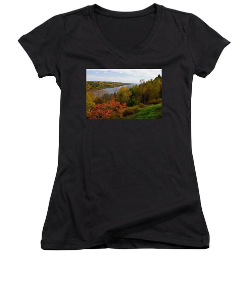 Autumn On The Penobscot Women's V-Neck