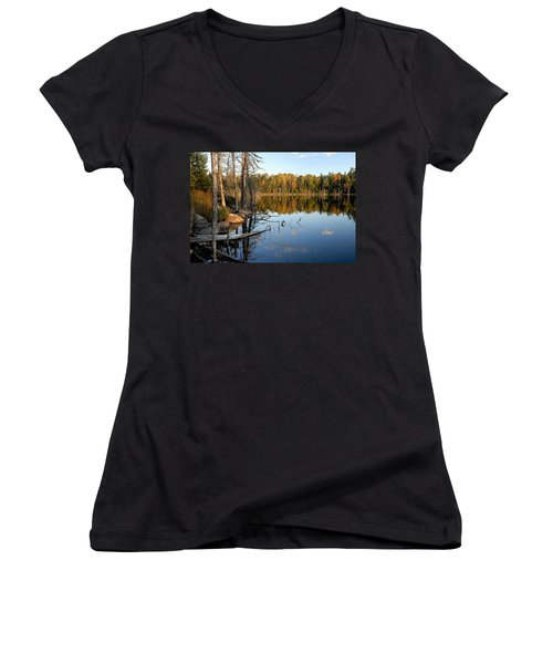 Autumn Reflections On Little Bass Lake Women's V-Neck T-Shirt (Junior Cut) by Larry Ricker