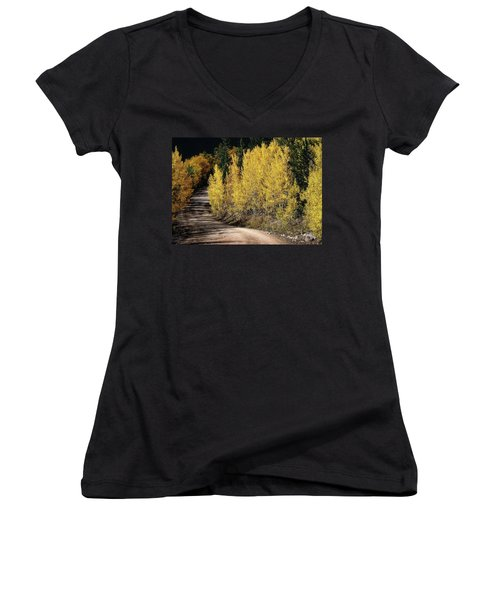 Women's V-Neck T-Shirt (Junior Cut) featuring the photograph Autumn Road by Jim Hill