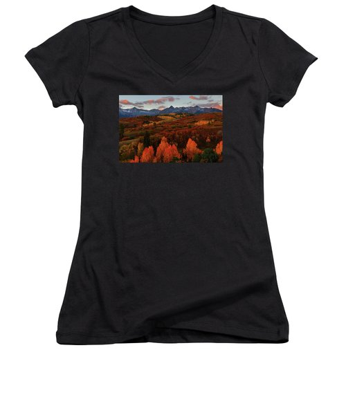 Autumn Sunrise At Dallas Divide In Colorado Women's V-Neck (Athletic Fit)