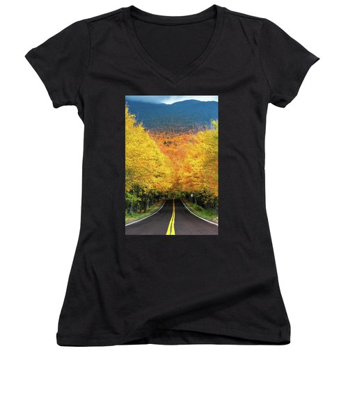 Autumn Tree Tunnel Women's V-Neck T-Shirt