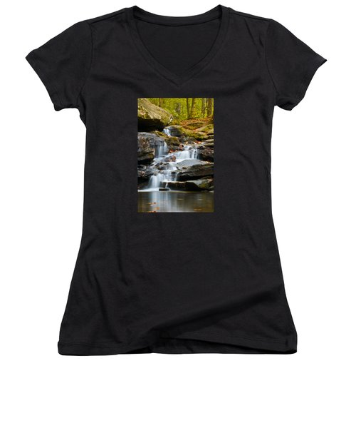 Autumn Waterfall Women's V-Neck T-Shirt (Junior Cut) by Shelby  Young