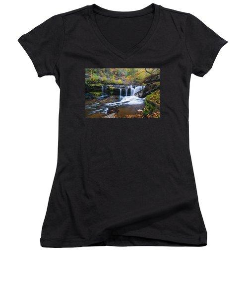Women's V-Neck T-Shirt (Junior Cut) featuring the photograph Autumn Waterfall by Steve Stuller