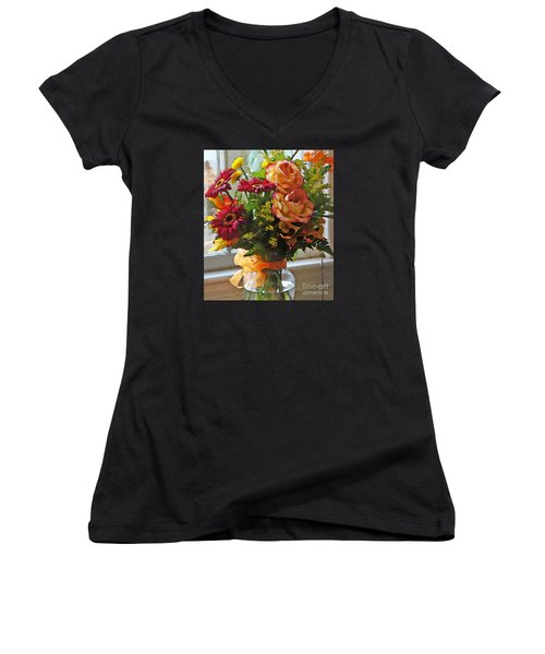 Women's V-Neck T-Shirt (Junior Cut) featuring the photograph Autumn Window by Betsy Zimmerli
