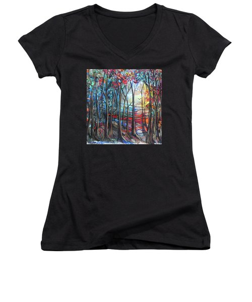 Autumn Woods Sunrise Women's V-Neck (Athletic Fit)