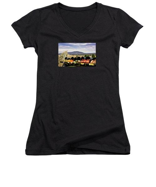 Autumnal Abundance In The Blue Ridge Mountains - Virginia Women's V-Neck T-Shirt (Junior Cut) by Brendan Reals