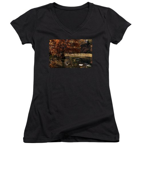 Women's V-Neck T-Shirt (Junior Cut) featuring the photograph Autumnal Solace At Lake Murray by Tamyra Ayles