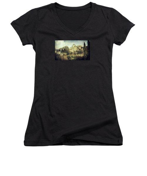 Avio Castle Women's V-Neck T-Shirt (Junior Cut) by Vittorio Chiampan