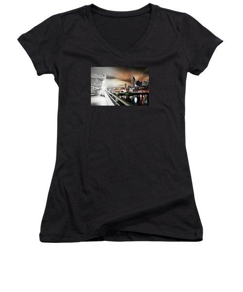 Awaiting The Dark Knight Women's V-Neck T-Shirt (Junior Cut) by Matt Helm