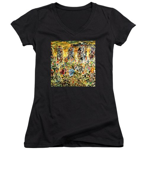 Women's V-Neck T-Shirt (Junior Cut) featuring the painting Awaiting The Sun by Alfred Motzer