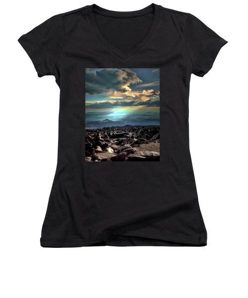 Women's V-Neck T-Shirt (Junior Cut) featuring the photograph Awareness ... by Jim Hill