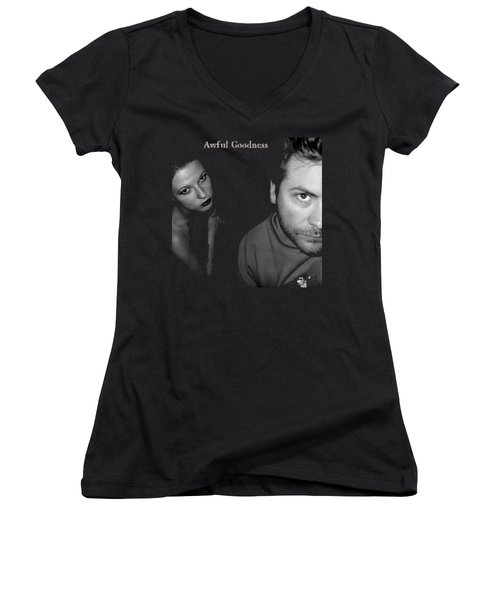 Awful Goodness Women's V-Neck T-Shirt (Junior Cut) by Mark Baranowski