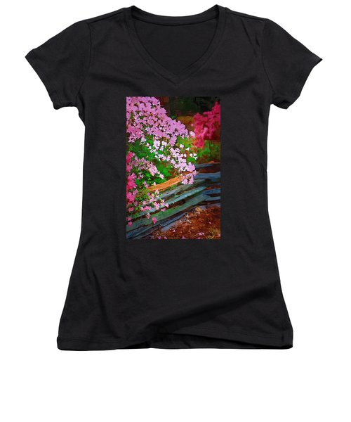 Women's V-Neck T-Shirt (Junior Cut) featuring the photograph Azaleas Over The Fence by Donna Bentley