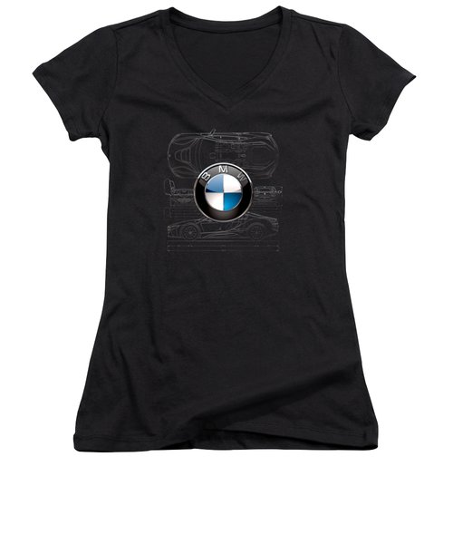 B M W  3 D  Badge Over B M W I8 Silver Blueprint On Black Special Edition Women's V-Neck (Athletic Fit)