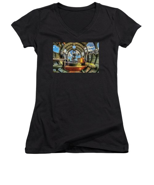 Women's V-Neck T-Shirt featuring the photograph B17 Nose Section Interior by Gary Slawsky