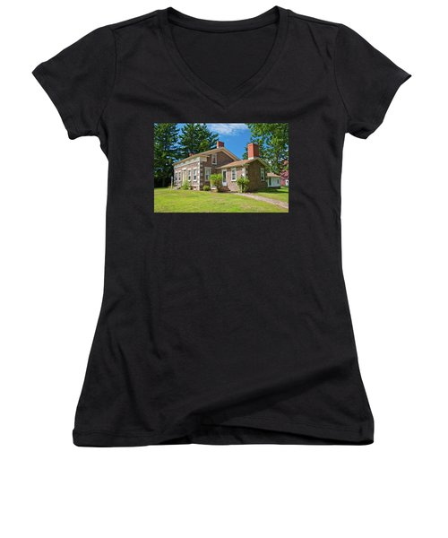 Women's V-Neck T-Shirt (Junior Cut) featuring the photograph Babcock House Museum 2250 by Guy Whiteley