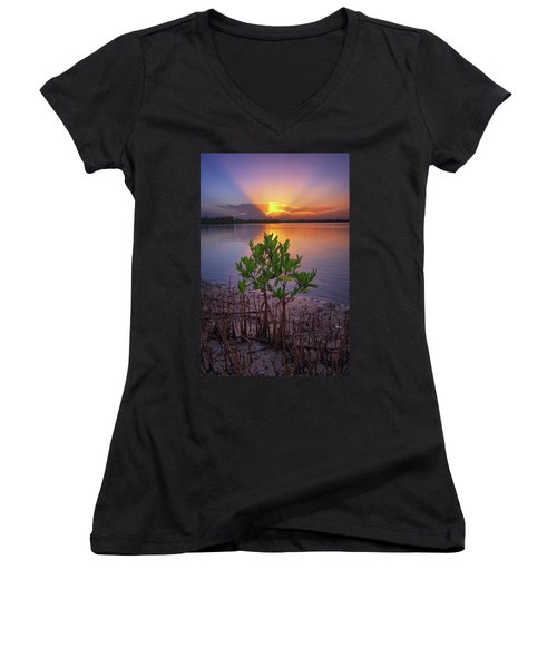 Baby Mangrove Sunset At Indian River State Park Women's V-Neck T-Shirt (Junior Cut) by Justin Kelefas