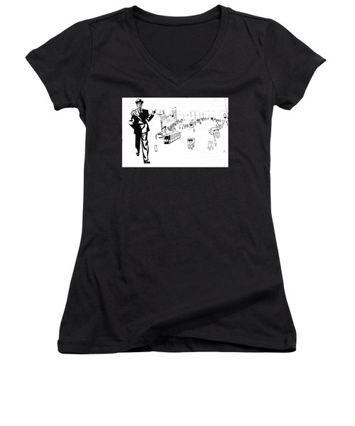 Women's V-Neck T-Shirt (Junior Cut) featuring the photograph Back In Early Twenties. by Yurix Sardinelly