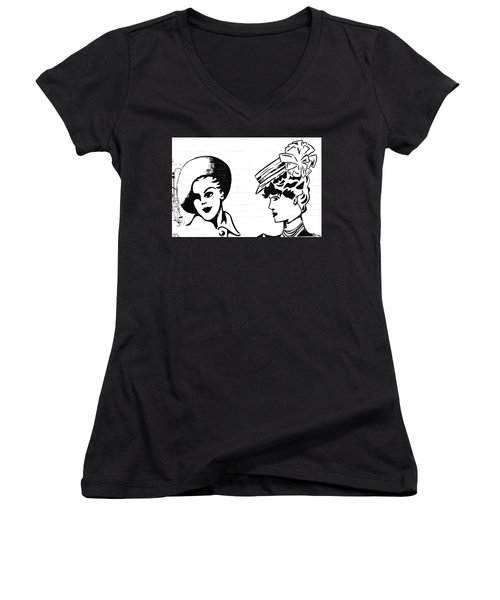 Women's V-Neck T-Shirt (Junior Cut) featuring the photograph Back In Twenties Mural by Yurix Sardinelly