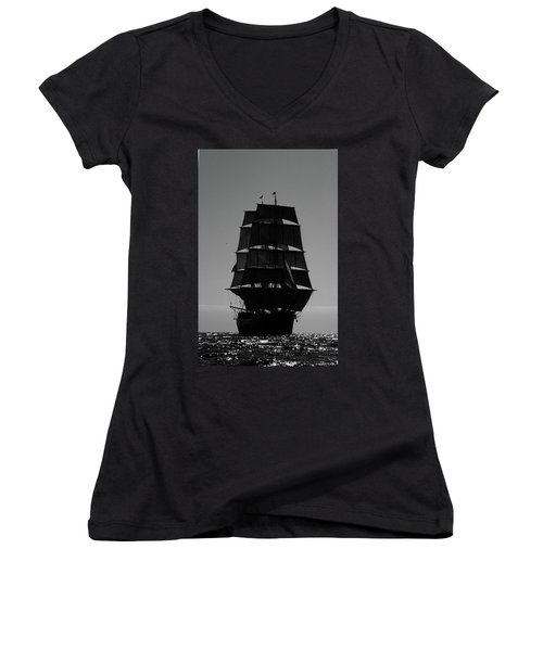 Back Lit Tall Ship Women's V-Neck