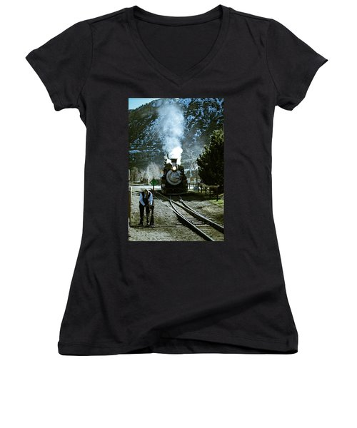 Backing Into The Station Women's V-Neck T-Shirt (Junior Cut) by Jason Coward