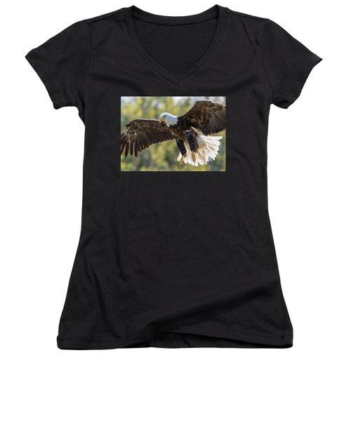 Backlit Eagle Women's V-Neck T-Shirt