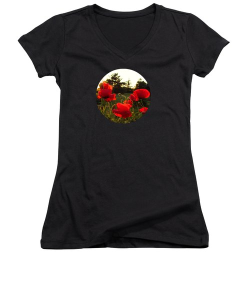 Backlit Red Poppies Women's V-Neck T-Shirt (Junior Cut) by Mary Wolf