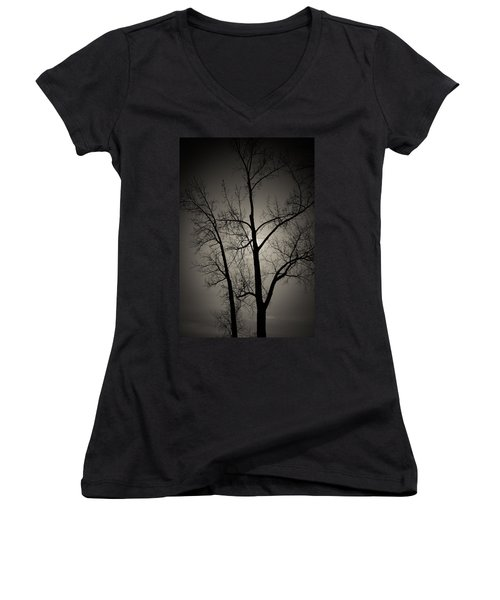 Backlit Trees Women's V-Neck (Athletic Fit)