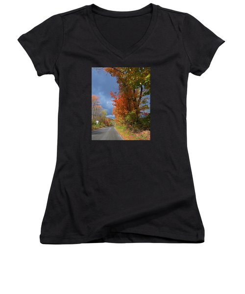 Backroad Country In Pennsylvania Women's V-Neck T-Shirt (Junior Cut) by Jeanette Oberholtzer