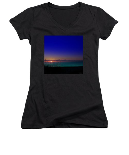 Badblue Sunrise  Women's V-Neck