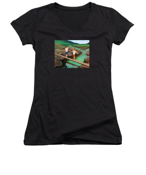 Balancing Life Through A Straight And Narrow Path Women's V-Neck (Athletic Fit)