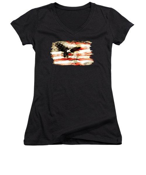 Bald Eagle Bursting Thru Flag Women's V-Neck