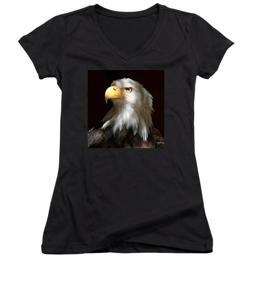 Bald Eagle Closeup Portrait Women's V-Neck