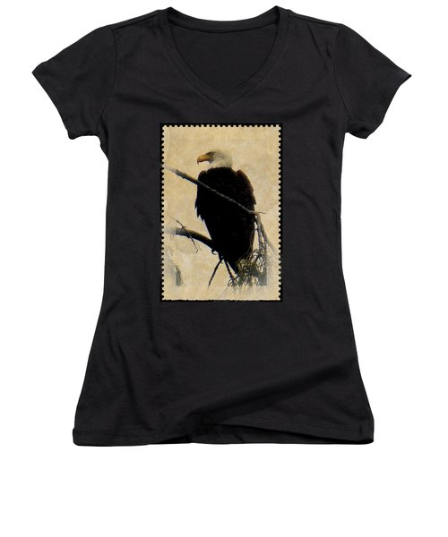 Women's V-Neck T-Shirt (Junior Cut) featuring the photograph Bald Eagle by Lori Seaman