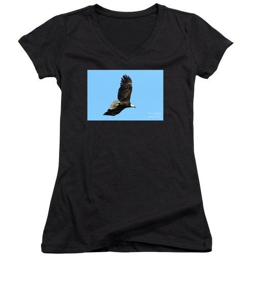 Women's V-Neck T-Shirt (Junior Cut) featuring the photograph Bald Eagle Series IIi by Deborah Benoit