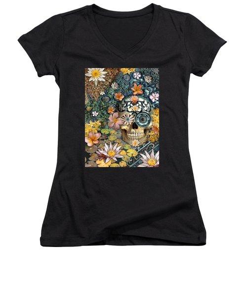 Bali Botaniskull - Floral Sugar Skull Art Women's V-Neck T-Shirt (Junior Cut) by Christopher Beikmann