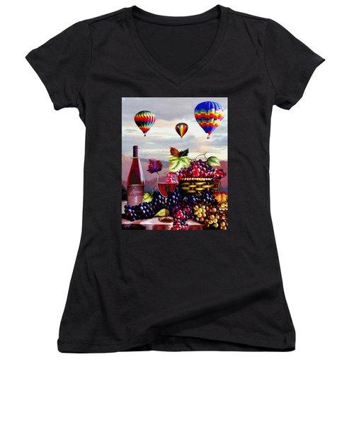 Balloon Ride At Dawn Women's V-Neck T-Shirt (Junior Cut) by Ron Chambers