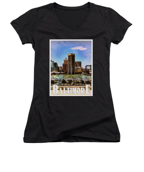 Women's V-Neck T-Shirt (Junior Cut) featuring the painting Baltimore Skyline by Kai Saarto