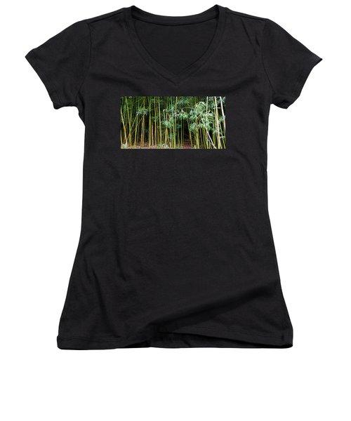 Bamboo Wind Chimes  Waimoku Falls Trail  Hana  Maui Hawaii Women's V-Neck T-Shirt (Junior Cut) by Michael Bessler
