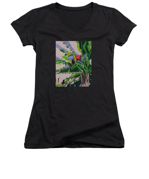 Women's V-Neck T-Shirt (Junior Cut) featuring the painting Bananas by Hilda and Jose Garrancho