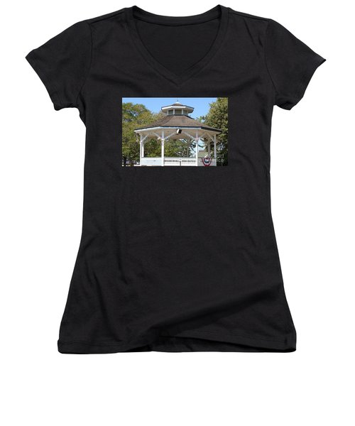 Women's V-Neck T-Shirt (Junior Cut) featuring the painting Bandshell In Plymouth, Mass by Rod Jellison