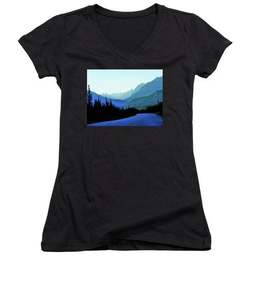 Banff Jasper Blue Women's V-Neck T-Shirt