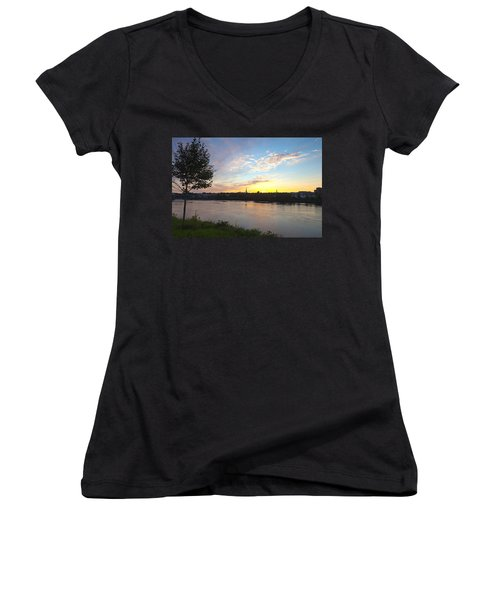 Bangor Sunset Women's V-Neck T-Shirt (Junior Cut) by Melinda Fawver