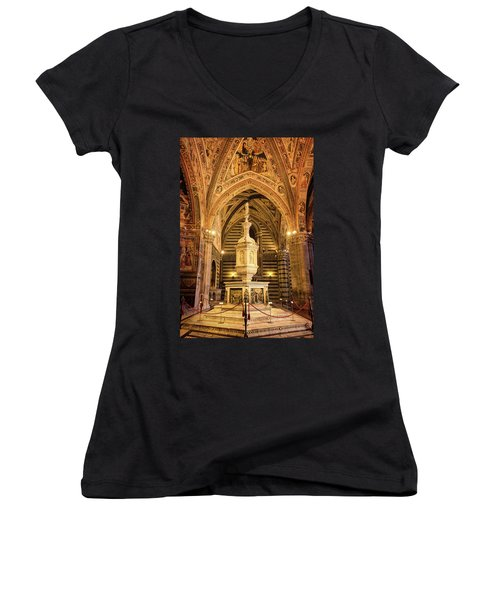 Women's V-Neck T-Shirt (Junior Cut) featuring the photograph Baptistery Siena Italy by Joan Carroll