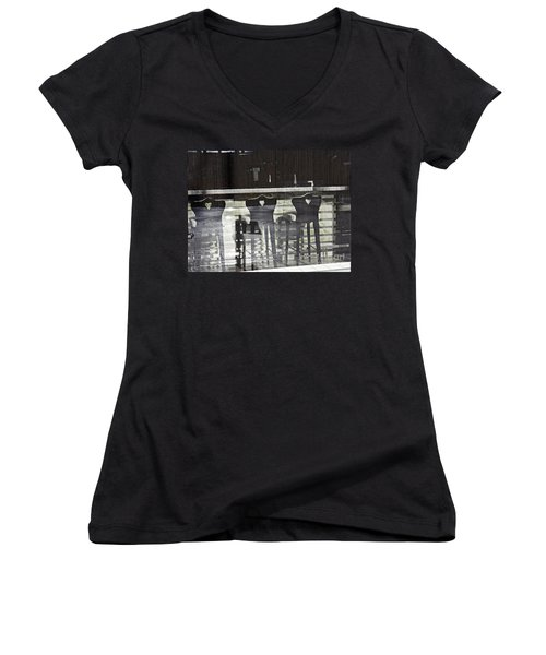Women's V-Neck T-Shirt (Junior Cut) featuring the photograph Bar And Stools by Sarah Loft